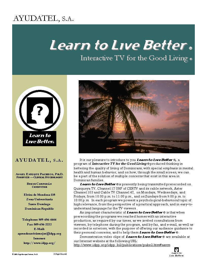 Learn to Live Better ® - TV Program (English), P. 1